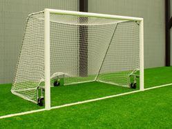 Fotbollsmål 5 manna med hjul - Vit aluminiumram f6179e9faf4e2
